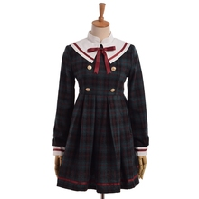 """Good Student""Girls Preppy Lolita Green Plaid Dress Cute Bow Sailor Collar Long Sleeve(China)"