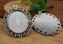 5pcs 30x40mm Inner Size Antique Silver Pierced Style Cabochon Base Setting Charms Pendant (B3-51)(China)