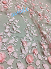 popular 3d flower embroidered Tulle Lace nice looking African French Lace Fabric for wedding dress