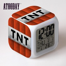 TNT Alarm Clock Led Light 7 Color Change Orologio Digitale Reloj Relogio De Mesa Projection Clock Square Digital-Watch Vintage(China)