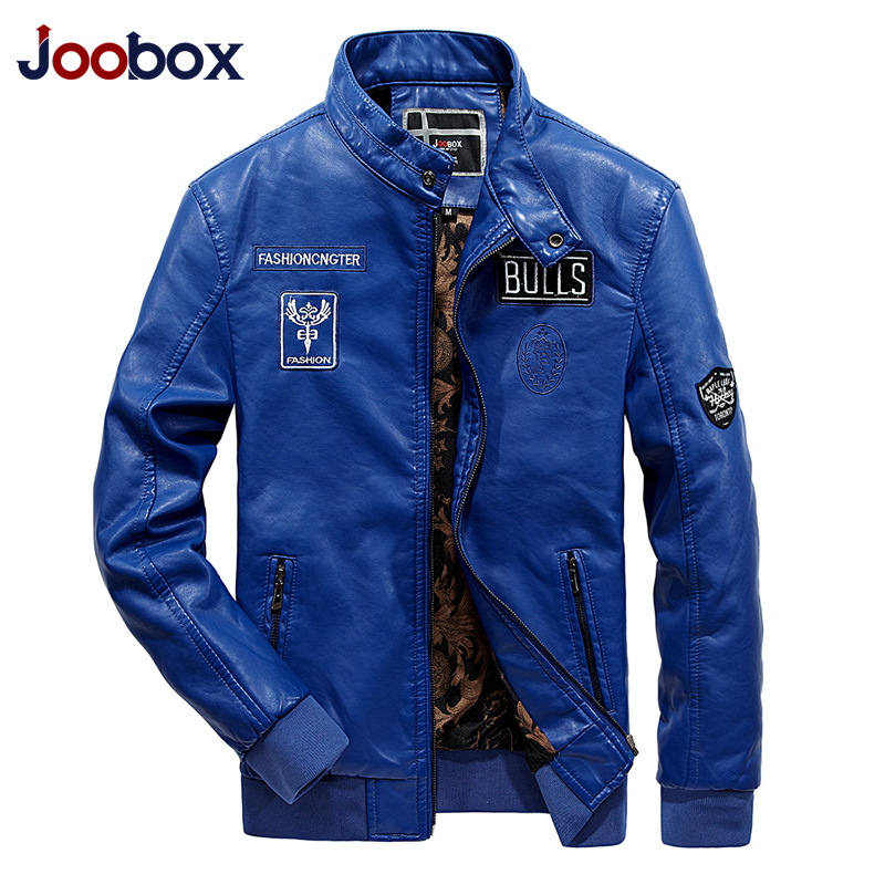 JOOBOX Brand 2019 Autumn Winter Fur Leather Jacket Men Slim Overcoat Warm Outwear Waterproof High Quality male leather jacket