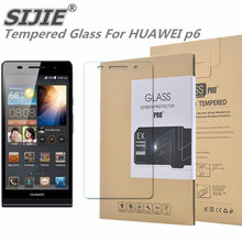 SIJIE Tempered Glass For HUAWEI p6 Ascend Screen Protect protective cover discount with Retail Package Hard BOX 4.7 inch