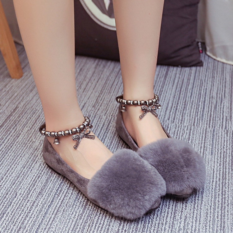 2017 Korean winter beauty shoes with cashmere single flat shallow mouth of new metal decorative Beaded Maomao low womens shoes<br><br>Aliexpress