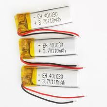 3 pcs 3.7V 110mAh 401030 Lithium Polymer LiPo Rechargeable li ion Battery For DIY Mp3 MP4 MP5 GPS PSP bluetooth headphone