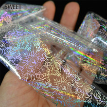 New 100cmx4cm Glitter Laser Flower Nail Foil Sticker Polish Glue Transfer Adhesive Decal DIY Beauty Wraps Nail Decoration LALT12