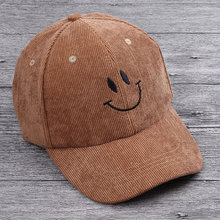 Autumn Kid Corduroy Panel Baseball Cap with Embroidery Emoji 2-5 year Boy Girl Curved Snap back Hats Dusty Pink Gray Black Brown
