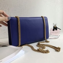 top quality gold hardware chain handbag real leather France fashion shoulder messenger bags for women blue color(China)