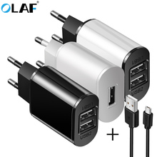 OLAF 5V 2A Dual USB Charger Micro Usb Cable EU Plug Quick Charge Wall Travel Mobile Phone Charger For Samsung Huawei Xiaomi HTC