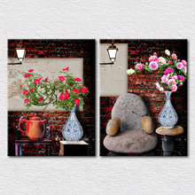 Canvas Print 2pcs set designs Antique decoration art picture Red brick wall colors flower in vase give you a Artistic atmosphere