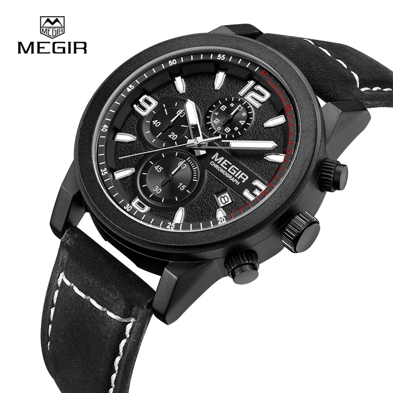 MEGIR Mens Chronograph Luminous Waterproof Clock Wristwatches Fashion Calendar Leather Band Quartz Watch Men 2026<br>