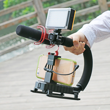 U-Grip Triple Shoe Mount Video Action Stabilizing Handle Grip Rig for Canon Sony DSLR Camera,for iPhone 7 plus Gopro  Smartphone