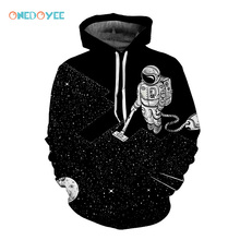 Onedoyee Men 3D Sports Scooters Hoodies Space Vacuum Cleaner Astronaut 3d Print Hooded Sweatshirt Sportswear Running Top Black(China)