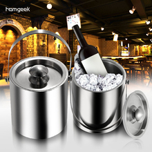 2L/3L Practical Durable Home Bar Stainless Steel Cubes Barrel Ice Container Barrel Bucket Beer Wine Cooler Champagne