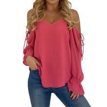 Buy 2018 Brand New Women's Shirt Summer Casual Flare Sleeve Shoulder Spaghetti Strap Chiffon Blouse Tops Blusa Feminina Tunic for $8.59 in AliExpress store