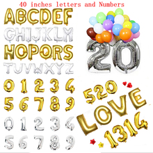 Hot Party 1pcs decoration Alphabet number Letter foil baloons 40 inch Children birthday party wedding device aluminum balloons(China)