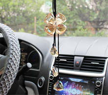 High-grade Car Styling Crystal Pendant Lucky Clover Shade Handmade Car Rear View Mirror Accessories Concise Clever Ornaments