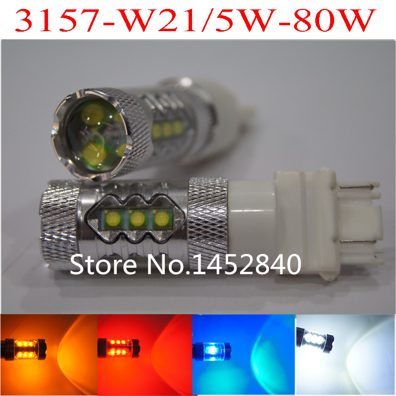 2ps 80W CRE E 3157 BAY15D  P21/5W 1157 7443 High Power 16 LED Turn Signal Light Bulb Amber/Yellow White RED12V 24VFree Shipping,<br><br>Aliexpress