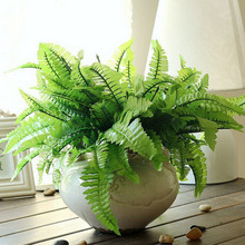 Home Decor Plastic Imitation Fern Grass 7-fork Green Grass Artificial Plants Household Store Dest Rustic Decoration Clover Plant