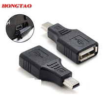 Mini USB USB 2.0 A Female To Micro / Mini USB B 5 Pin Male Plug OTG Host Adapter Converter Connector up to 480Mbps Black AQJG(China)
