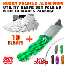 Stainless Steel Folding Knife Utility Knife  Speed Released Twine Box Cutter & 10 Extra Blades 5-0 Removable Blade Handle