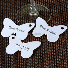White Paper butterfly Place Cards / Cup Cards / Wine Glass Cards / Table Card Wedding Favors Party Decor Free Shipping 12pcs