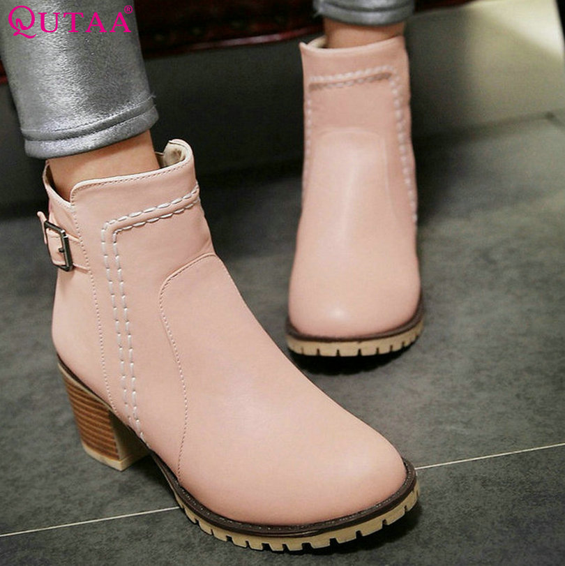 QUTTA 2017 Pink PU leather Square High Heel Ankle Boots Round Toe Solid Zipper Classic Women Motorcycle Boots Size 34-43<br><br>Aliexpress