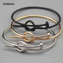 Gothletic Fashion Gold/Rhodium/Black Plated Unisex Knotted Copper Nail Shaped Bracelets & Bangles for Women Men's Punk Jewelry(China)