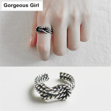 Celebrity 100% 925 Sterling Silver Jewelry Double Twisted Rope Vintage Ties Open Rings(China)