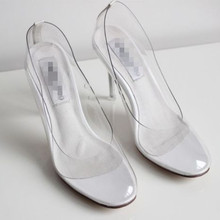 Movie Princess Cinderella Women high-heeled shoes Clear Glass Slipper Summer e92f6997aa89