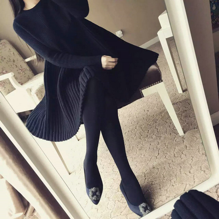 2018 Large size women's dress 200 pounds autumn winter new dress covered belly sweater knitting sweater