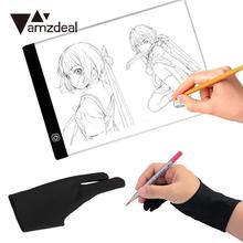 AMZDEAL LED Drawing Pad Light Tracing panel Copy Tablet Animation Electronic Digital+ 1pcs AntiFouling Gloves Two Finger