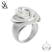SA SILVERAGE Ring Silver 925 Flower Rings For Women Girl Pure Silver S925 Fine Jewelry 2017 Wedding Christmas Gift 11.11(China)