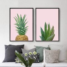 Nordic Posters And Prints Cactus Decor Wall Art Canvas Painting Pink Pineapple Wall Pictures For Living Room Aloe Art Unframed