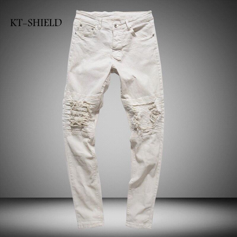 Fashion full length men Ripped jeans Knee Biker Destroyed fear of god Jean Pants black Masculina Pantalones Vaqueros HombreÎäåæäà è àêñåññóàðû<br><br>