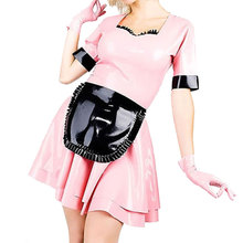 Buy Summer Dress 2017 Sexy Lolita Latex Maid Dress Women Pink Black Fetish Large Size Rubber Dresses Vestidos LD014