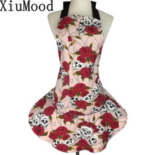 XiuMood Cotton Canvas Fabric Funny Pink Rose Skull Head Apron Kitchen Cooking Aprons For Woman Waiter Cleaning Accessories