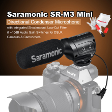 Saramonic SR-M3 Mini Directional Condenser Microphone with Integrated Shockmount Low-Cut Filter & +10dB Audio Gain Switches
