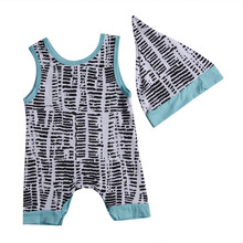 New Summer fashion Newborn Baby Boy Girls Romper Hat Outfits Sleeveless Children Kids Infant Clothing Set for sale 2pcs 0-24M(China)