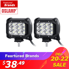"Oslamp 2PCS 4"" 36W 3-Row Flood Spot Beam Led Work Light Bar Offroad Led Driving Lamp 12v 24v for Trucks SUV ATV 4x4 4WD Led Bar(China)"