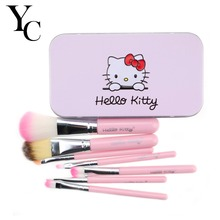 YANSH Pink/Black Hello Kitty 7 Pcs Makeup Brush Set Professional Facial Cosmetics Make Up Brushes Set With Metal Box D25(China)