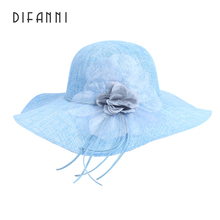 [DIFANNI]New Sun Hats Wide Brim For Women Fashion Lady Summer Visor Hat Female Beach Cap Prevention Of Ultraviolet & Flower Hat