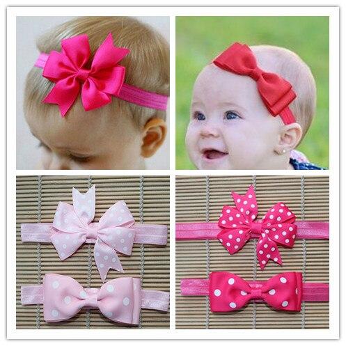 2pcs/lot new kids dots ribbon infant baby girls head wraps elastic hair bands bow headband tiara headbands satin flower hairband<br><br>Aliexpress