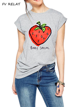 FV RELAY Women's Strawberry Printed Tops Cute Short Sleeve Casual Teen Girls Graphic Tees Summer Funny Tshirts T Shirts