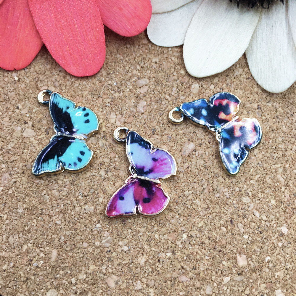 12 25x35mm Rainbow Colorful Turquoise Butterfly Beads