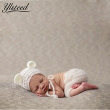 Baby Mohair Cap Pants Clothes Set Crochet Bear Ears Hat Newborn Photography Props Winter Beanies Roupa de Fotografia Newborn(China)