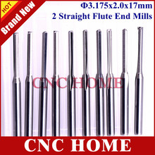 10pcs 3.175mm CED 2mm CEL 17mm Straight Slot Bit Wood Cutter CNC Solid Carbide Two Double Flute Bits CNC Router Bits(China)