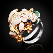 The Best Gift For Lovers Gold color Color The Frog Prince Rings With Real Austria Crystals Jewelry Free Shipping J00893(China)