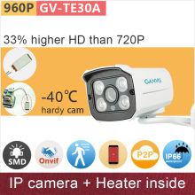 Built in heater#-40 'C hardy 1.3mp 4:3 HD 960P ip camera mini outdoor CCTV camera video surveillance onvif p2p GANVIS GV-TE30AH
