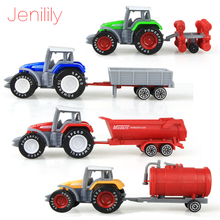 Jenilily 4pcs/set Alloy engineering car tractor toy model farm vehicle belt boy toy car model children's Day Xmas gifts N06(China)