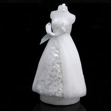 1PCS Hot Sale New Gown Dress Design Art Candle White Elegant Wedding Bridal Bride Candles Wedding Party Supplies Home Decors
